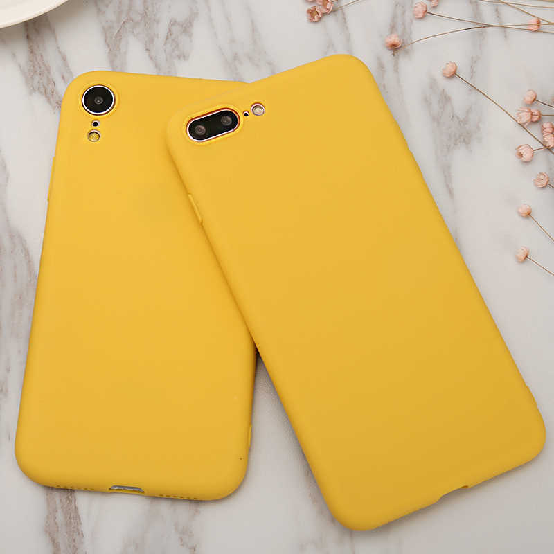 Simple PLAIN โทรศัพท์กรณี Frosted SOFT TPU Candy สีเหลืองกลับสำหรับ iPhone 8 7 6 6S PLUS 5 5S SE สำหรับ iPhone X XS MAX XR