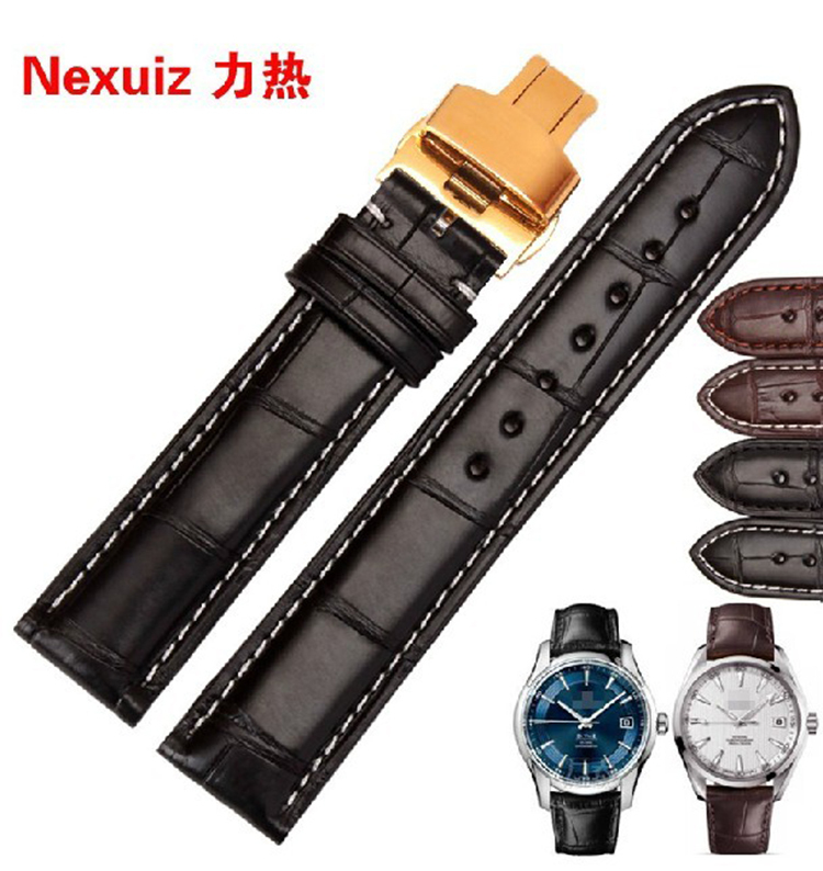 High quality Genuine Alligator leather strap watchbands 18mm 20mm 22mm 24mm with gold butterfly buckle new mens genuine leather watch strap bands bracelets black alligator leather 18mm 19mm 20mm 21mm 22mm 24mm without buckle