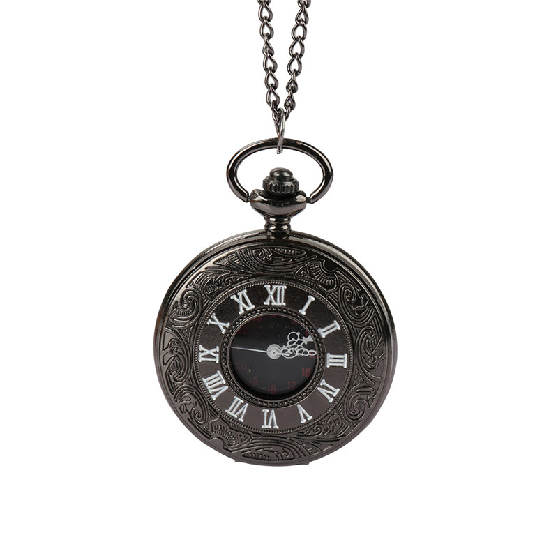 все цены на Vintage Charm Black Unisex Pocket Watch Roman Number Quartz Steampunk Pocket Watch Women Man Necklace Pendant with Chain онлайн