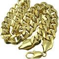 (N276) 60 cm Sólidos Pesados hombres 18 k gold filled collar de Cadena del Encintado Cubana