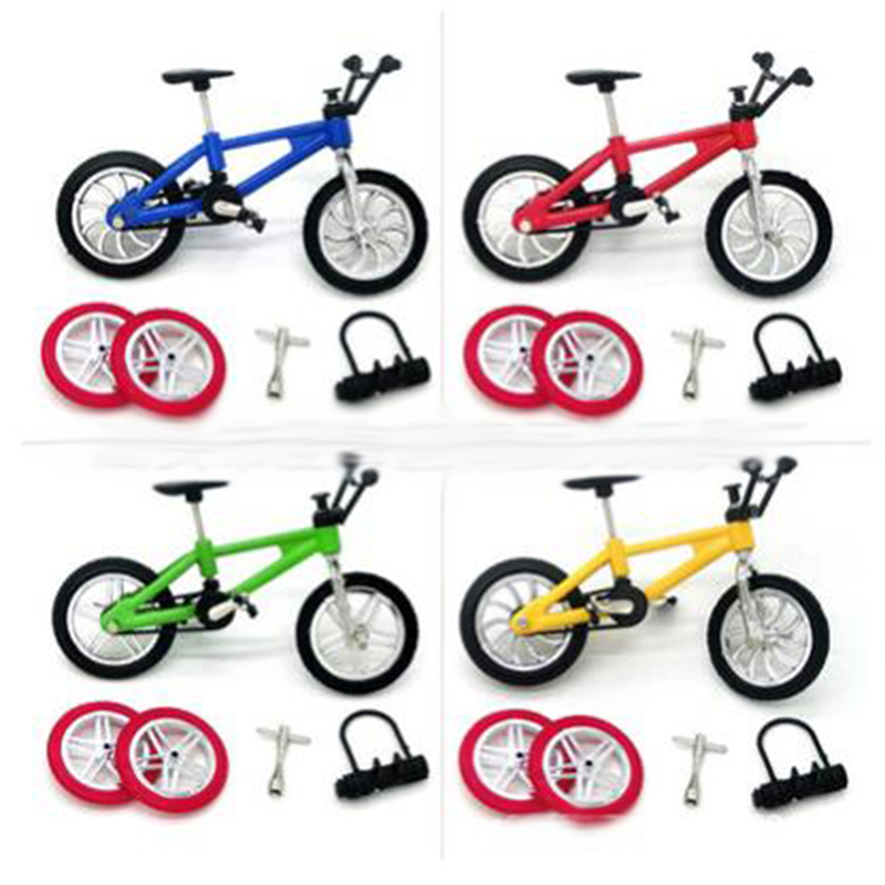 Fingerboard Bicycle Toys With Brake Rope Simulation Alloy Finger Bike Children Gift 1 Sets = Mini Bicycle/tools/lock/tire
