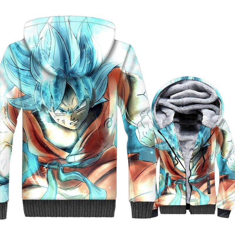 Dargon Ball 3D Print Hoodie Men Japan Anime Harajuku Sweatshirt Winter Thick Fleece Warm Zip up Coat Super Saiyan Vegeta Jacket