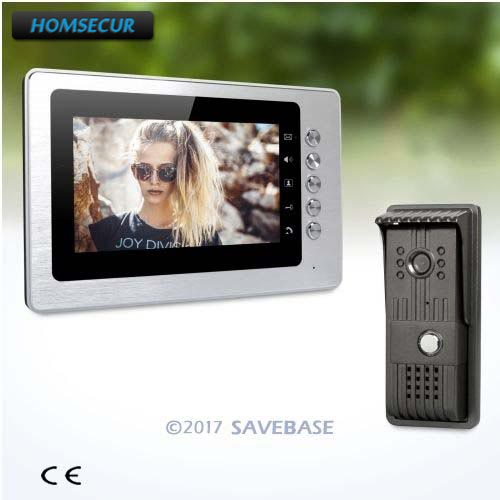 HOMSECUR Wired 7inch Wired Video Door Entry Security Intercom with Intra-monitor Audio Intercom + 1 Camera + 1 Monitor