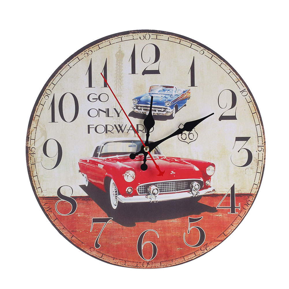 Modern wooden wall clock rustic shabby chic home office decoration features amipublicfo Gallery