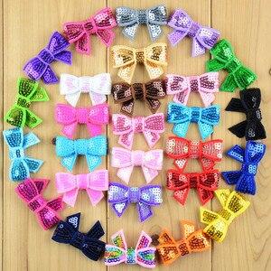 Image 1 - Новинка 100 шт./лот 37 цветов U Pick 4 см мини банты для волос с блестками DIY лента для волос для шитья Крафт аксессуары для волос HDJ39