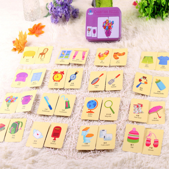 kids montessori Educativos Fun English Word Pocket Flash Card Baby Learning Educational English table game Puzzle Toys Children