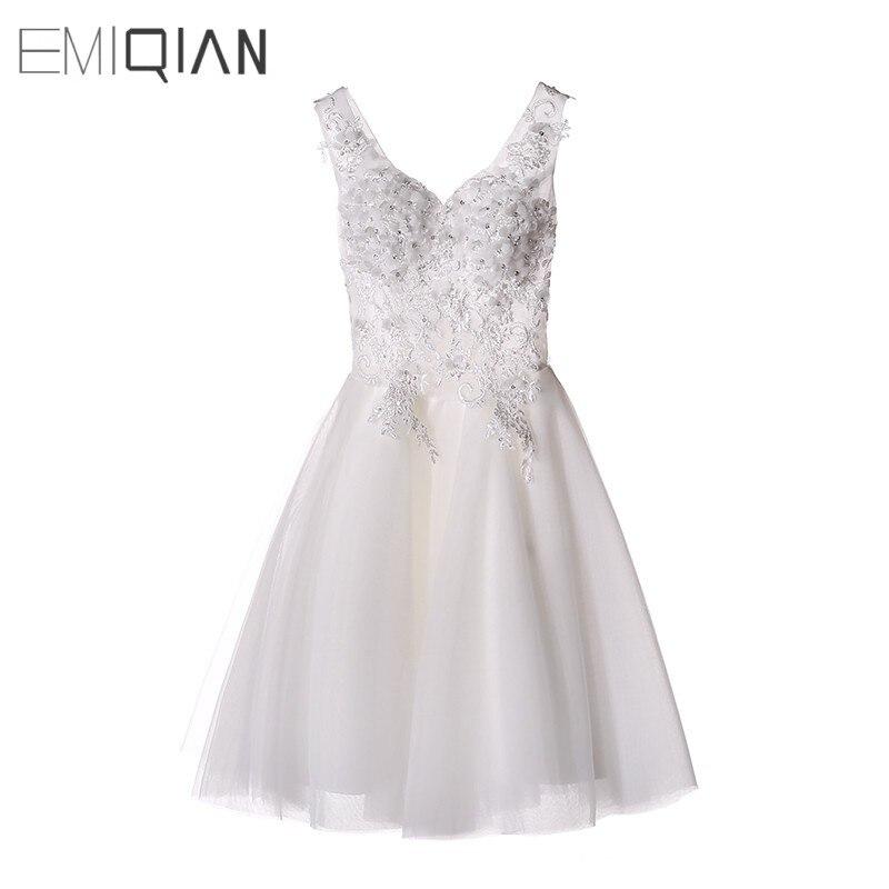 New Branco/Marfim Curto Vestido de Casamento As Noivas Sexy Vestido de Noiva Lace vestido de Noiva Vestido De Noiva Real Amostra