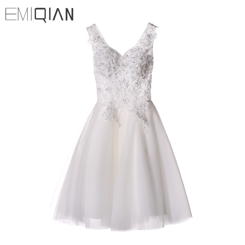 New White/Ivory Short Wedding Dress The Brides Sexy Lace Wedding Dress Bridal Gown Vestido De Noiva Real Sample