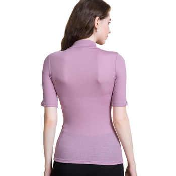 Women Wool shirt 100% Wool Short sleeved Turtleneck shirt for Women 2018 FALL Winter Bottoming shirt Black