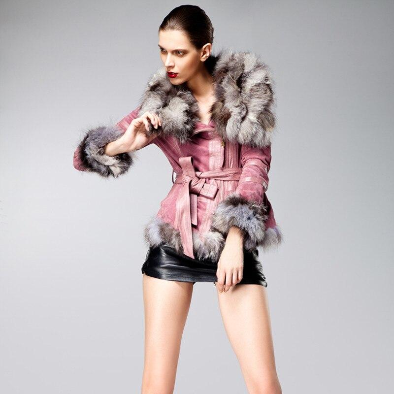 Echarpes Femmes Col Outwear As Sexy Mode Zy81048 Avec Réel as Fourrure Cuir En Picture Filles Dames Picture Veste Fox De Slim AvO66gp