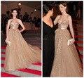Vestidos de fiesta Ariana grande Anne Hathaway Una Línea de Cuello Del Amor de Tulle Champagne Lentejuelas Reunió Bola 2017 Vestido de La Celebridad de La Alfombra