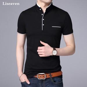 Image 2 - Liseaven גברים מנדרינית צווארון חולצה בסיסי חולצת טי זכר קצר שרוול חולצה חדש לגמרי חולצות & tees כותנה חולצה