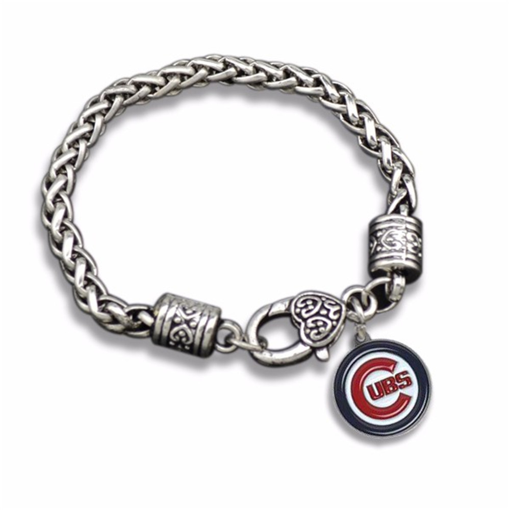 Double Nose Whole Alibaba Fashion Wheat Chain Lobster Men Sports Team Logo Chicago Cubs Bracelets Bangles In Charm From Jewelry Accessories