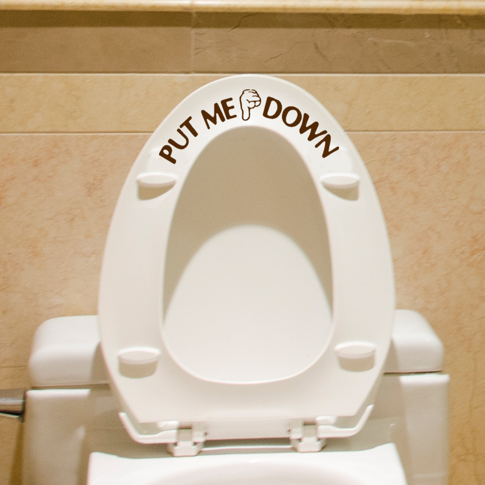 Gesture Hand Decal Funny Bathroom Toilet Seat Wall Sticker Sign For PUT ME DOWN