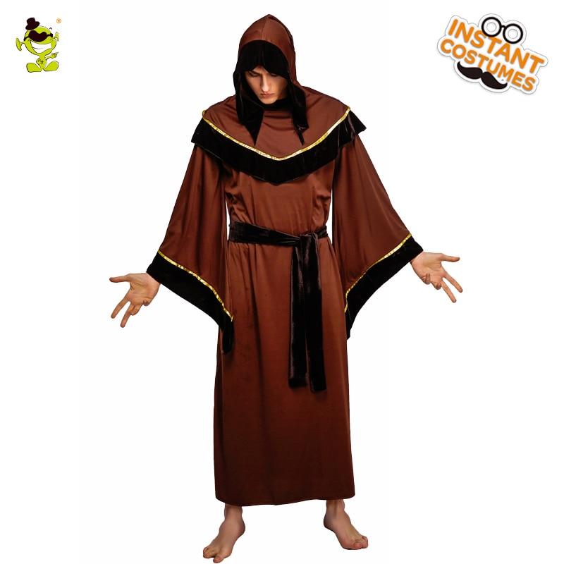 QLQ Adult Men s Grim Reaper Costume Role Play Brown Robe Halloween ... 88926558c