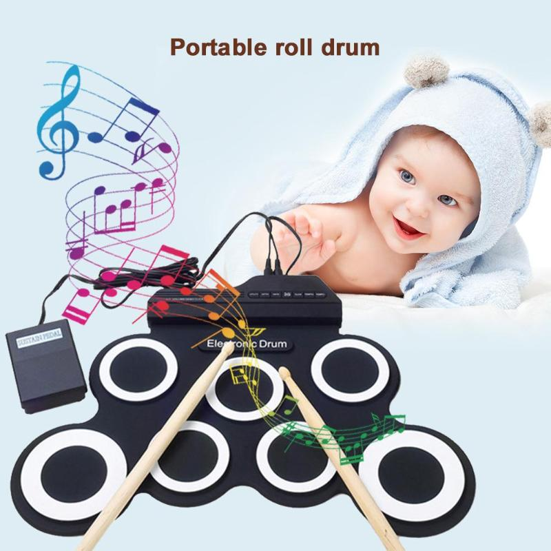 Enfants Simulation électrique enroulable tambour avec pilons manuel Set Portable enfants Instrument de musique jouets musique formation outils