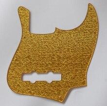 KAISH 4 String Plastic Jazz J Bass Pickguard Fits for Standard Fender Gold Sparkle