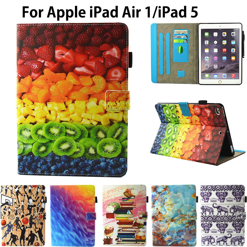 Fashion Cartoon Pattern Flip Cover For Apple iPad Air 1 iPad 5 Case Funda Tablet Soft TPU Silicone PU Leather Stand Skin Shell glossy tpu gel cartoon pattern mobile cover for iphone 7 plus 5 5 inch polar bear
