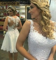 Vestido De Noiva сексуальный назад короткое свадебное платье Кружево аппликации пляж свадебное платье brautkleid 2018 платье невесты
