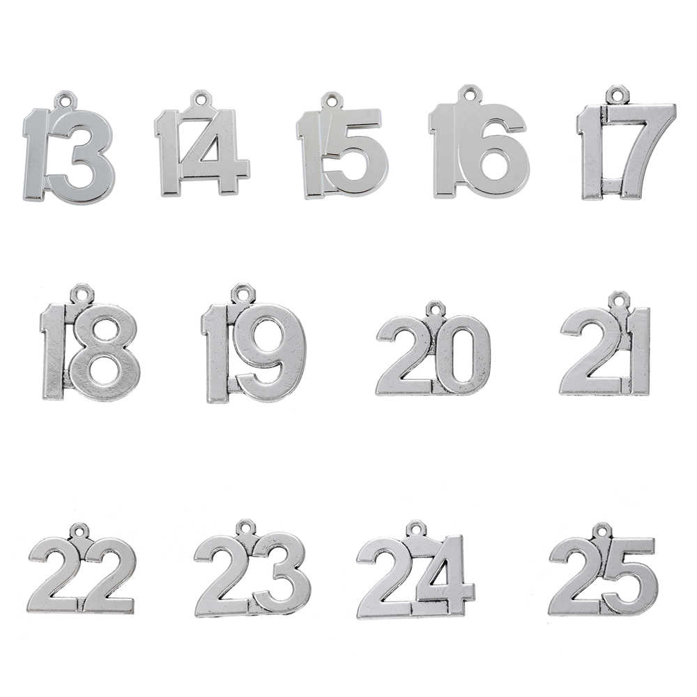 Skyrim 20pcs 13-25 Lucky Number Birthday Charm for DIY Jewelry Making Handmade Pendant  13 14 15 16 17 18 19 20 21 22 23 24 25