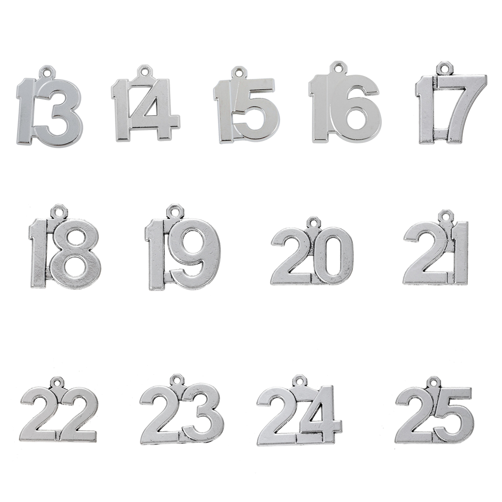 DIY Complete 10pc 123 Number Charm Set Lot Collection //Personalize 0 through 9