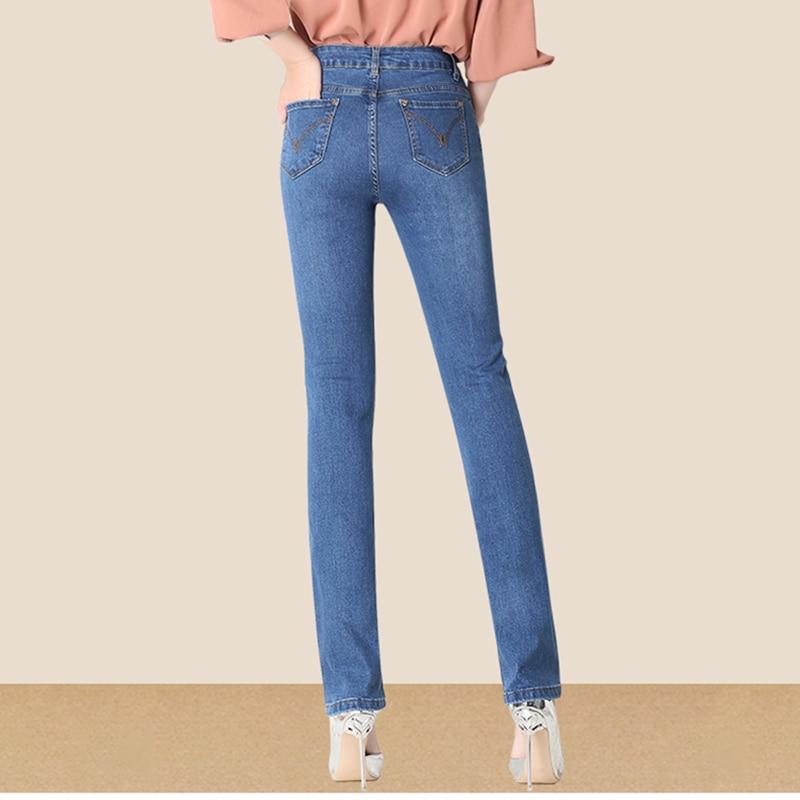 Las Ol Blue blue Slim Mujeres Pantalones Alta Longitud Skinny Oscuro Cintura Mezclilla Azul Vaqueros Otoño Sólido Señora Dark Mujer Rectos De Completa RqWgI6w