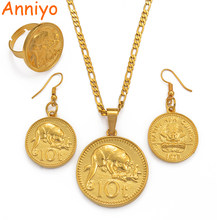 Anniyo Gold Color PNG Pendant Necklaces Ring Earrings for Women,Papua New Guinea Jewellery Style Gifts #097906(China)