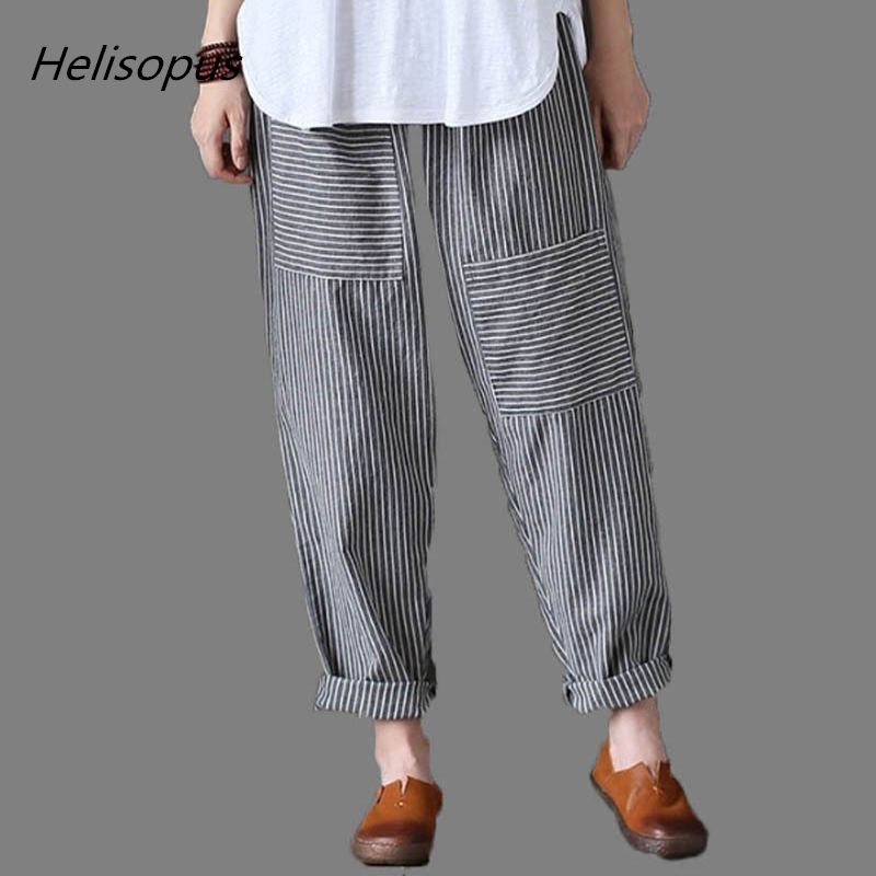 Helisopus Striped Loose Harem   Pants   Trousers for Women Big Pockets Cotton Linen   Pants   Casual Baggy   Wide     Legs     Pants   Plus Size