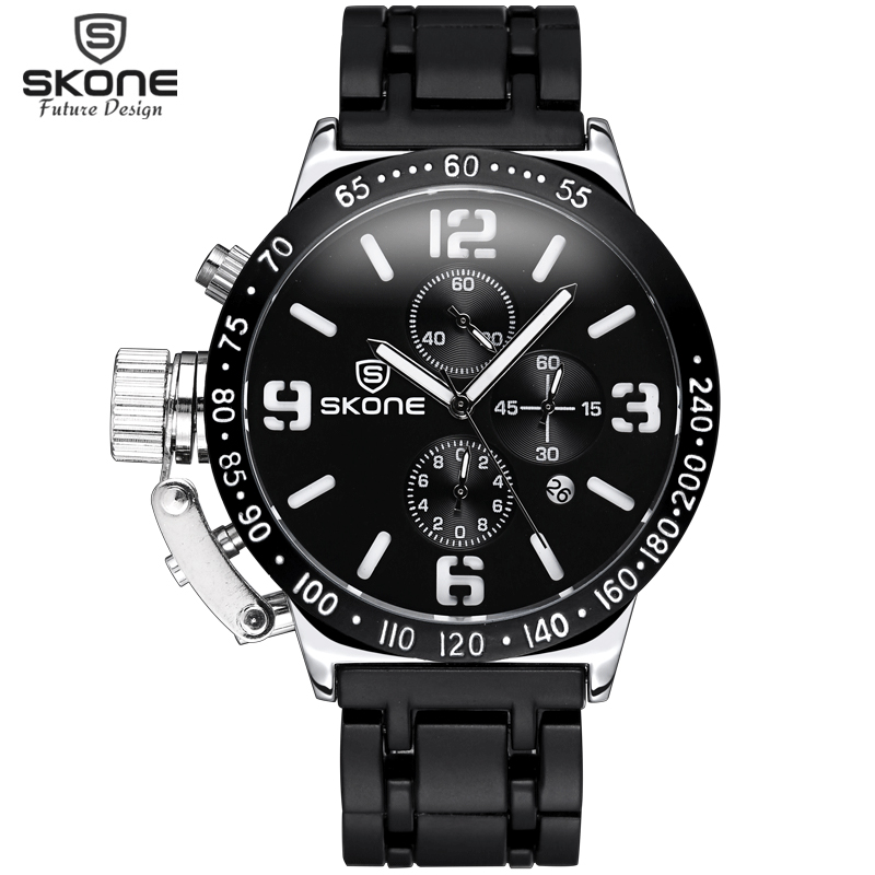 SKONE Stopwatch 6 Händer 24 Hours Funktion Chronograph Sport Klockor - Herrklockor - Foto 2