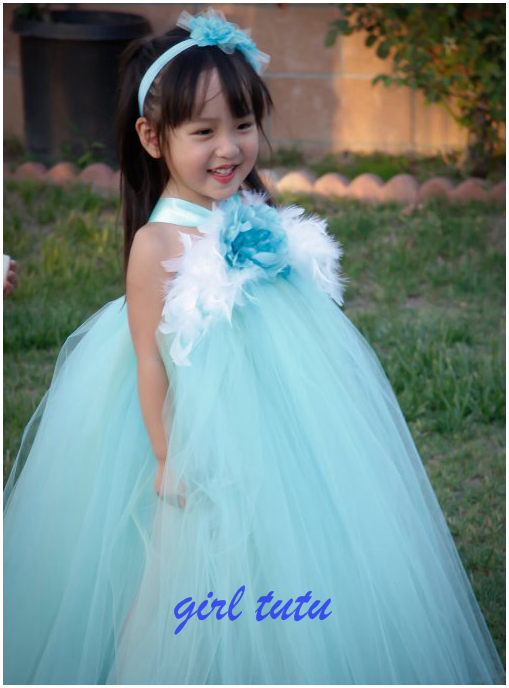 ФОТО Kids Children TUTU  dress, Princess Tutu, Blue Flowers, Feathers, Blue dress, Small Flower Girl Dresses, Handmade