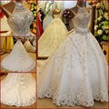 Luxurious 2017 Wedding Dresses Ball Gown Cathedral Train Lace Rhinestones Wedding Gown Bridal Dress Bridal Gown Vestido De Noiva