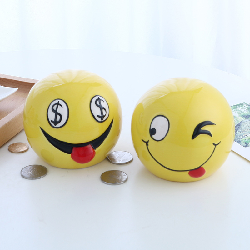 Modern Ceramic Tirelire Piggy Bank Currency Expression Face Save Money Round Coin Bank Creative Children Kids Christmas Gift