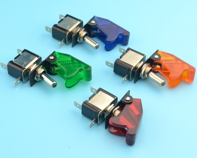 4 pc led iluminado on/off toggle switch com tampa de proteção car auto boat 12 v 20a 2pin