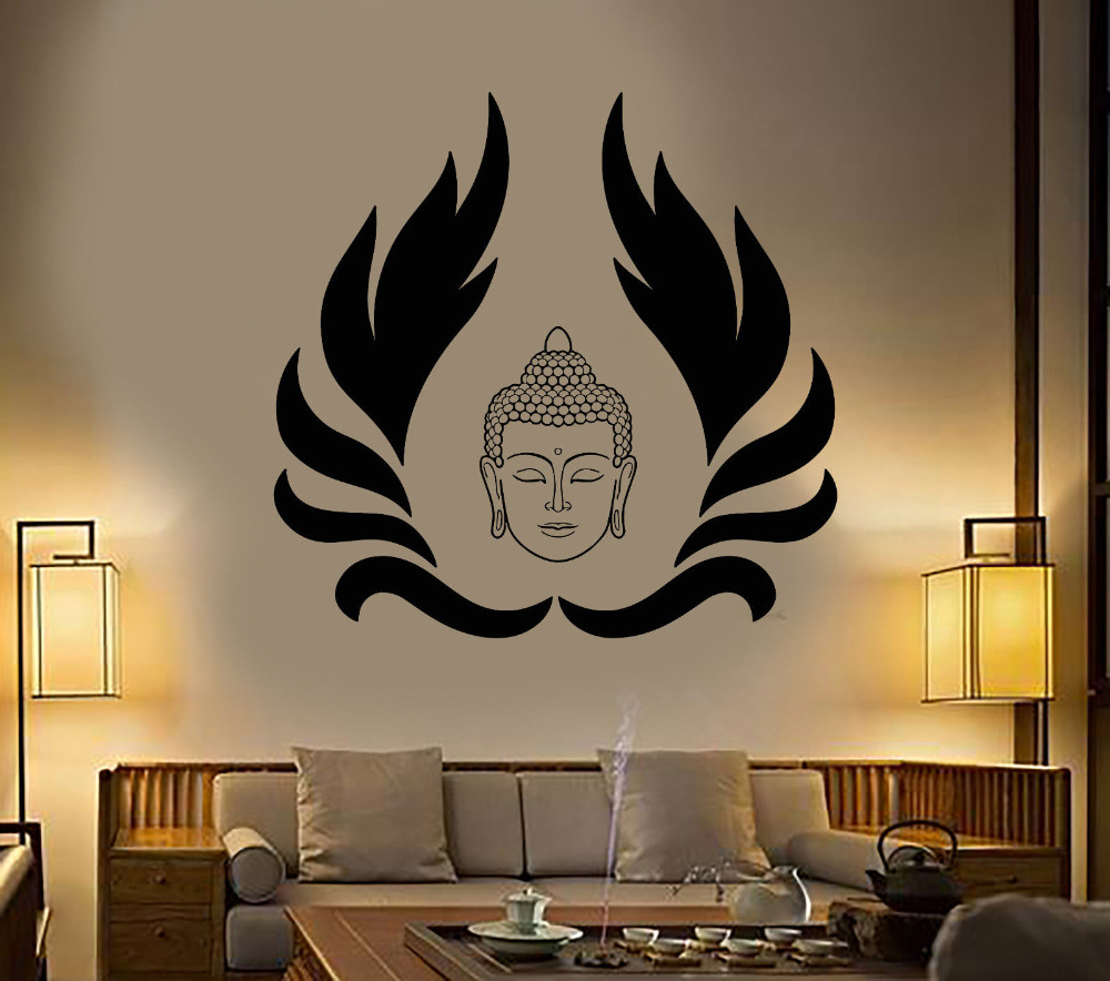 Home & Garden Beautiful Zooyoo Buddhism Pattern Lotus Flower Buddha Wall Decals Vinyl Stickers Home Decor Removable Wall Stickers Modern