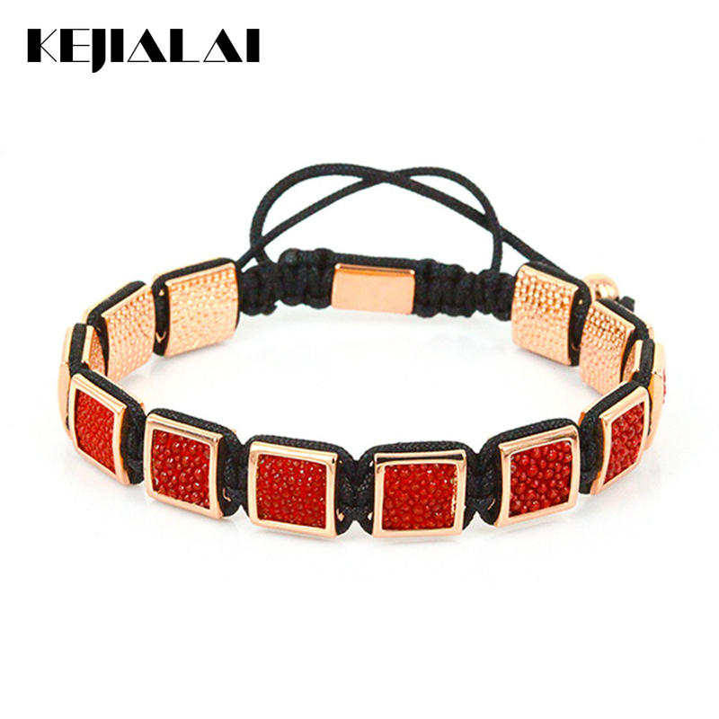 Luxury Brand Men Bracelets Genuine Stingray Leather Square Beads Braided Macrame Bracelets for Men Jewelry Best Gift Instagram 2016 new waterproof black beads macrame bracelets for men women high end cz beads braided bracelet for watch boho men jewelry