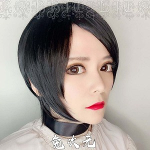Image 2 - Leon Scott Kennedy Short Brown Mixed Wig Ada Wong Black Cos Synthetic Hair Cosplay Costume Wigs + Wig Cap