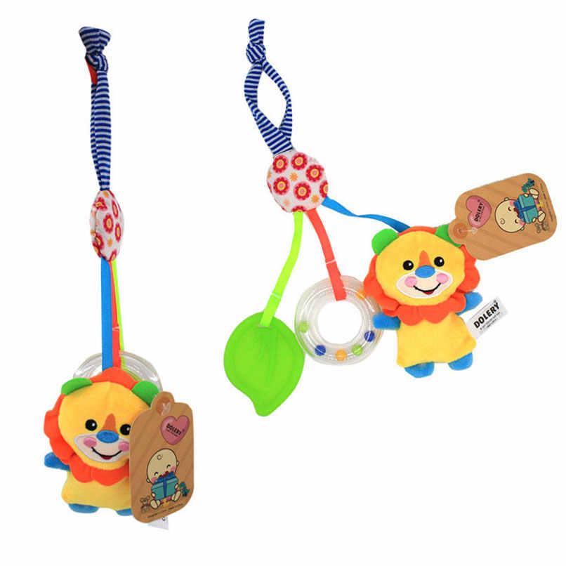 音楽ラトルおしゃぶり赤ちゃんなだめるベビーカー幼児ハンドベルのおもちゃ動物キッズ早期教育リング漫画開発
