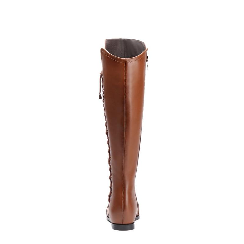 Solide Nouveau Liée Asumer brown Haute Genou Bottes Mode En Pour 2018 Adulte Qualité Cuir Sexy D'hiver De Véritable Femmes Croix Black 8qdwTd