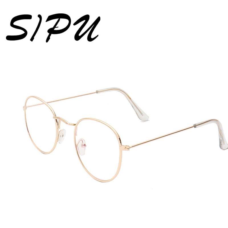 Redondo de la manera Gafas de Lente Transparente para Mujeres Gafas ...