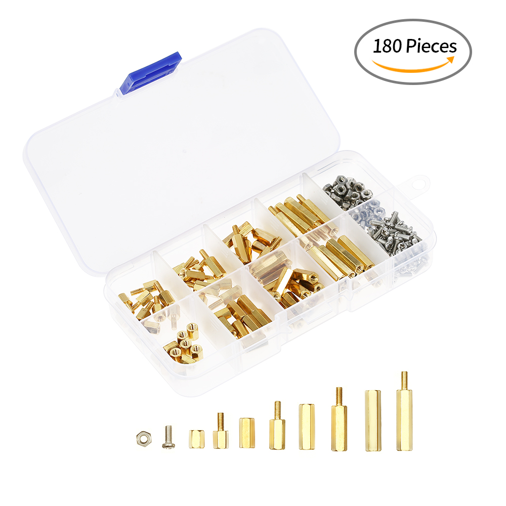 180 pièces Homme Femme Hex En Laiton Spacer Standoff Vis Noix Assortiment Kit M2.5 M3 large applications Facile à Installer