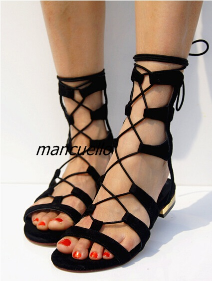 Fancy Black Suede Cut-out Cross Strap Gladiator Sandals Women Comfy Open Toe Flat Shoes Fashion Slingback Lace Up Sandals Hot new 2017 hot selling fashion women luxury sexy black gladiator cuts out open toe lace up back 100 mm phaedra peacock sandals