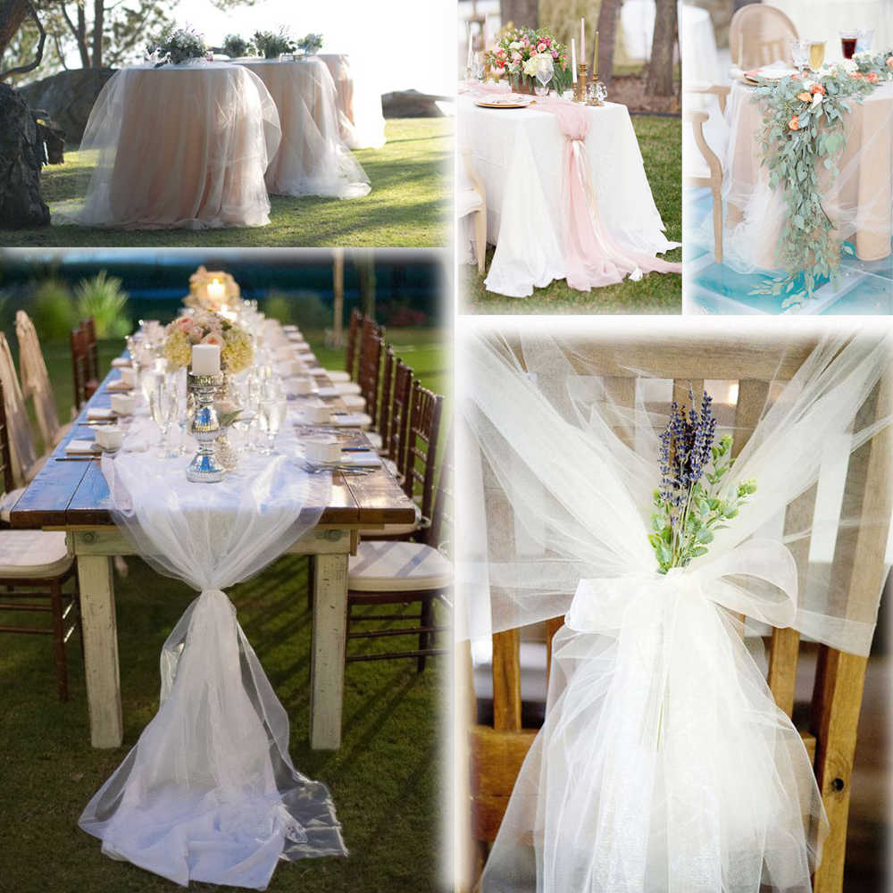 White 54 X120 Ft 40 Yards Tulle Bolt Wedding Decoration Bolt Pew Craft Favor Fabric Bridal Favor Party Banquet Gift Decor