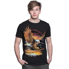 2016 years of foreign trade clothing summer men's eagle pattern rock t-shirt Europe and the United States trend men short-sleeve
