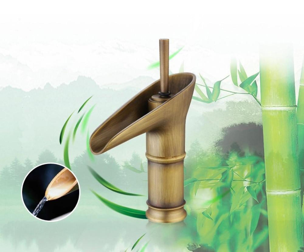 Art Basin Sink Faucet Antique Brushed Bronze Faucet Waterfall Bathroom FaucetArt Basin Sink Faucet Antique Brushed Bronze Faucet Waterfall Bathroom Faucet
