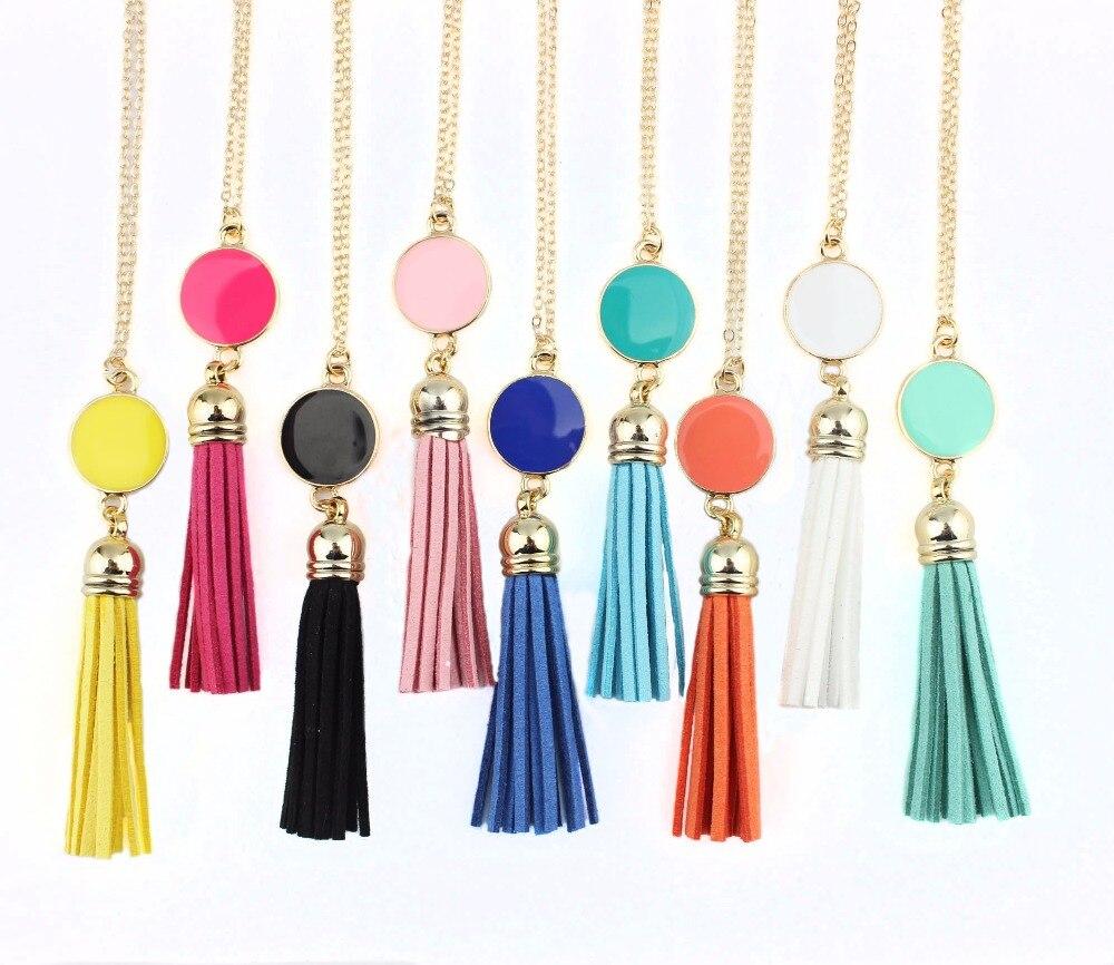 Մոնոգրամ էմալ սկավառակի կաշվե շղարշ երկար Չինաստանի կախազարդ մանյակ ՝ կանանց նորաձևության զարդերի համար