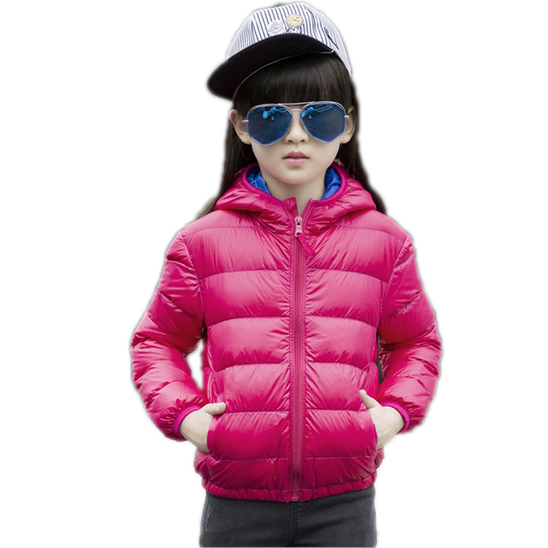 ФОТО 2017 Children's White Duck Down Clothing Girl Winter Solid Hooded Coats&Jackets Kids Thin Cotton-Padded Down Coats And Jackets