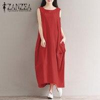 2018 ZANZEA Summer Vintage O Neck Sleeveless Solid Cotton Linen Casual Women Long Dress Kaftan Pockets
