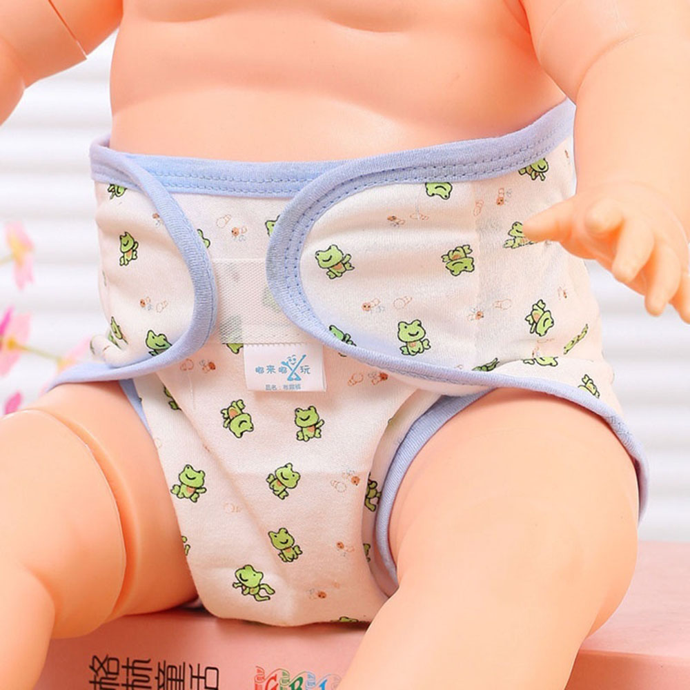 Cartoon Printing Cloth Infant Learning Training Baby Diaper Cute Accessories Reusable Gauze Cotton Nappies Diaper Random Color