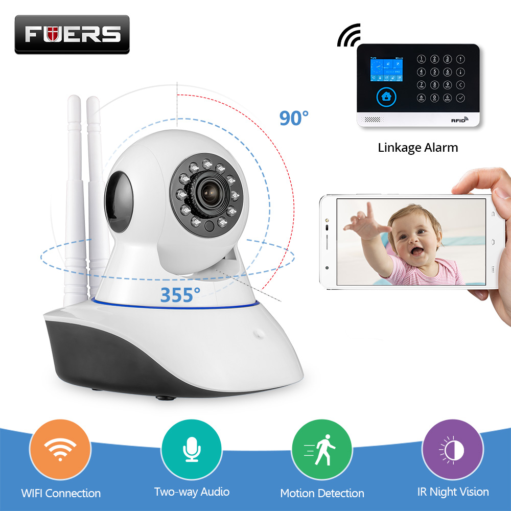 Fuers Wireless Wifi Camera 720P IP Camera WG11 PG103 Alarm Panel Night Vision Surveillance CCTV Camera Audio Record Baby Monitor