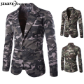 Mens Blazer Fashion Design Camouflage Color Suit High Quality Mens Fashion Blazer Casual Slim Suit One Button Suits for men